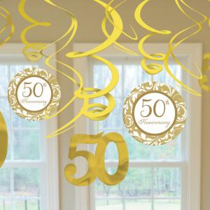 Gold 50th Anniversary Swirl Decorations
