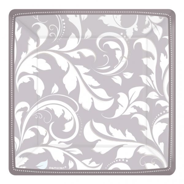 Silver Elegant Scroll Square Metallic Paper Plates - 18cm