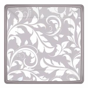 Silver Elegant Scroll Square Metallic Paper Plates - 18cm