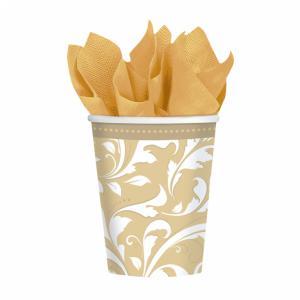 Gold Elegant Scroll Paper Cups