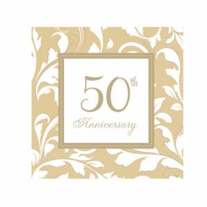 Gold 50th Anniversary Elegant Scroll Luncheon Napkins