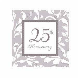 Silver 25th Anniversary Elegant Scroll Luncheon Napkins