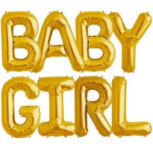 Baby Girl Gold Foil Balloons - bokstavsballonger 41 cm