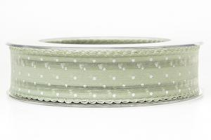 Pale Green Dot Ribbon 25 mm