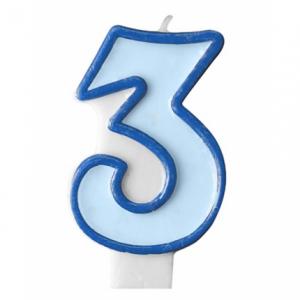 Nummer 3 - blått tårtljus