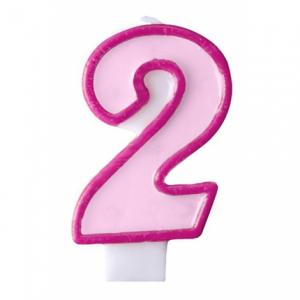 Nummer 2 - rosa tårtljus