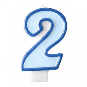 Nummer 2 - blått tårtljus