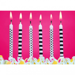 Black & White Cake Candles -  tårtljus