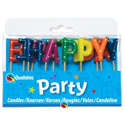 Happy Birthday Multi-Colour Pick Candles - tårtljus