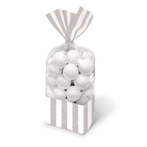 Candy Buffet Striped Party Bags Silver