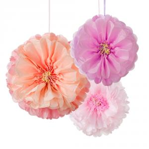 Decadent Decs Blush Flower Pom Poms