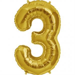 Gold Foil Balloon Number 3 - sifferballong 86 cm