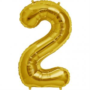 Gold Foil Balloon Number 2 - sifferballong 86 cm