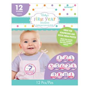 Baby Shower First Year Stickers Girl