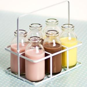 Glass School Milk Bottles in Crate - Sweet Jars