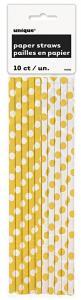 Yellow Polka Dot Paper Straws - gulprickiga sugrör