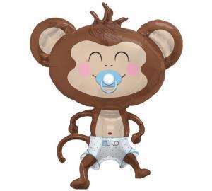 Baby Boy Foil Monkey - blå apballong