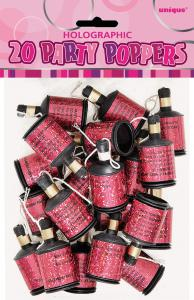 Hen Night Party Pink Poppers - rosa party poppers