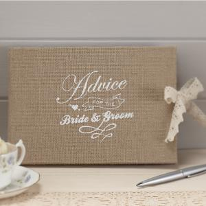 Advice for the Bride & Groom Hessian Burlap Book - Vintage Affair