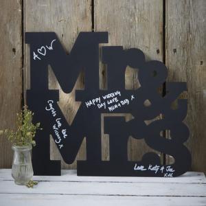 Mr And Mrs Chalkboard Wooden Guest Book Alternative - Vintage Affair