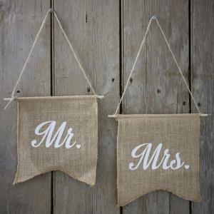 Mr & Mrs Hessian Flags - Vintage Affair