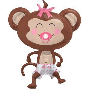 Baby Girl Foil Monkey - rosa apballong