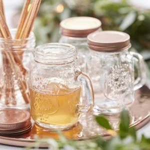 Mini Mason Rose Gold Glass Jars - Beautiful Botanics