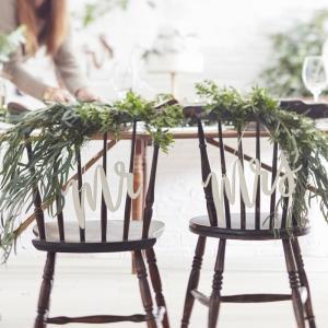 Wooden Mr & Mrs Chair Signs - Beautiful Botanics