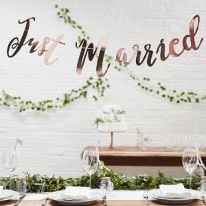 Just Married Rose Gold Bunting Backdrop - Beautiful Botanics