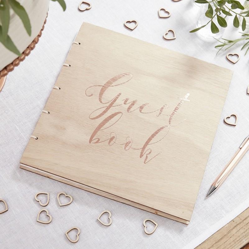 Rose Gold Wooden Guest Book - Beautiful Botanics