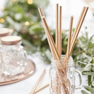 Rose Gold Paper Straws - Beautiful Botanics