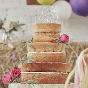 Best Day Ever Wooden Cake Topper - Boho