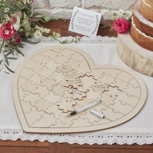 Wooden Jigsaw Guest Book Alternative - Boho