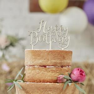Happy Birthday Wooden Cake Topper - Boho
