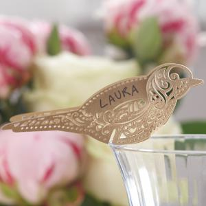 Bird Place Card for Glass Gold - Vintage Lace