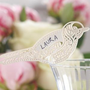 Bird Place Card for Glass Ivory - Vintage Lace