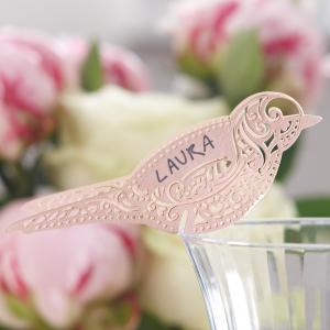 Bird Place Card for Glass Pink - Vintage Lace