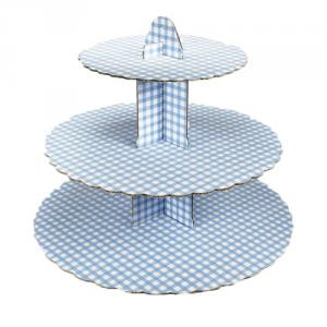 Blue Gingham Cupcake Stand