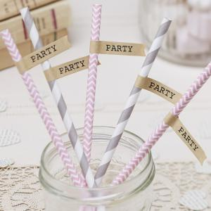 Brown Kraft Straw Flags - Vintage Affair