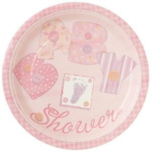 Paper Plates - Baby Stitching Pink