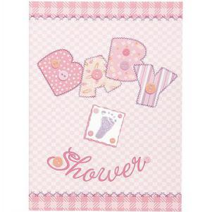 Invitations Card Baby Stitching Pink