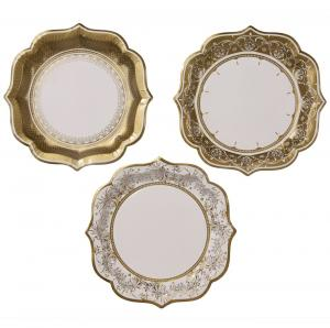 Party Porcelain Gold Plates Medium