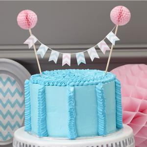 Cake Bunting Topper with Pink Pom Poms - Chevron Divine