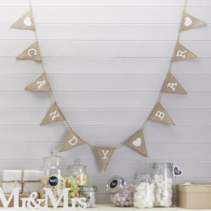 Candy Bar Hessian Burlap Bunting - Vintage Affair