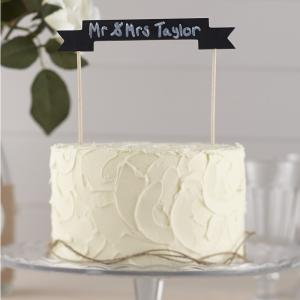 Chalkboard Wooden Cake Bunting Topper - Vintage Affair