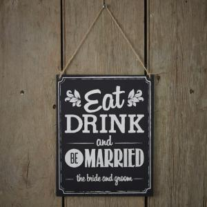 'Eat Drink Be Married' Chalkboard Wooden Sign - Vintage Affair