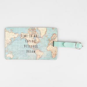 Vintage Map Time To Go Luggage Tag