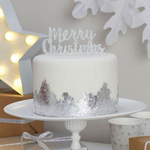 Merry Christmas Silver Cake Topper - Christmas Metallics