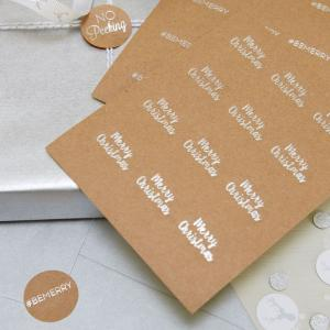 Festive Silver Foiled Kraft Stickers - Christmas Metallics