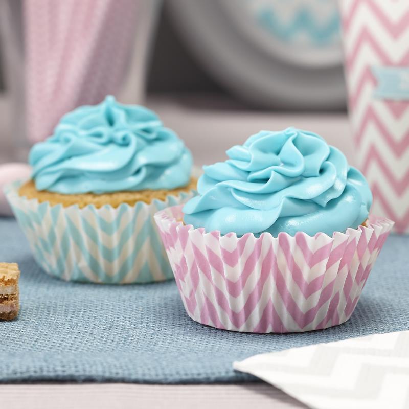 Pink & Powder Blue/Mint Green Cupcake Cases - Chevron Divine